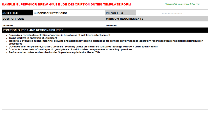 supervisor brew house job description template