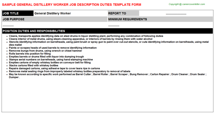 general distillery worker job description template