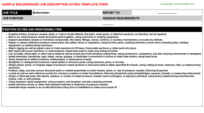 Boilermaker Job Description Template