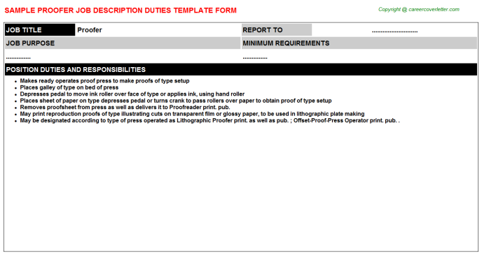 Proofer Job Description Template