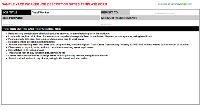 Yard Worker - Free Doc Format Templates Downloads (#10498)