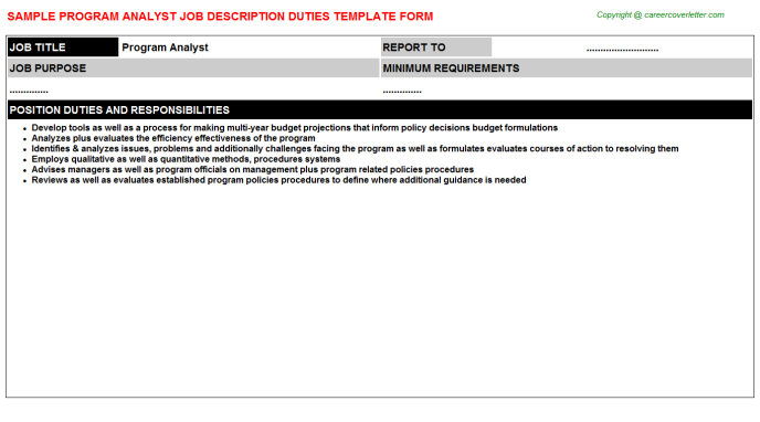Program Analyst Job Description Template
