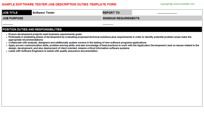 Software Tester Job Description Template