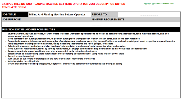 Milling And Planing Machine Setters Operator Job Description Template