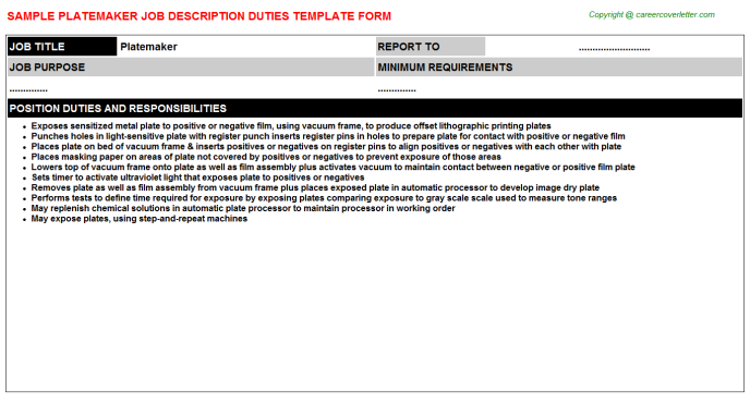Platemaker Job Description Template