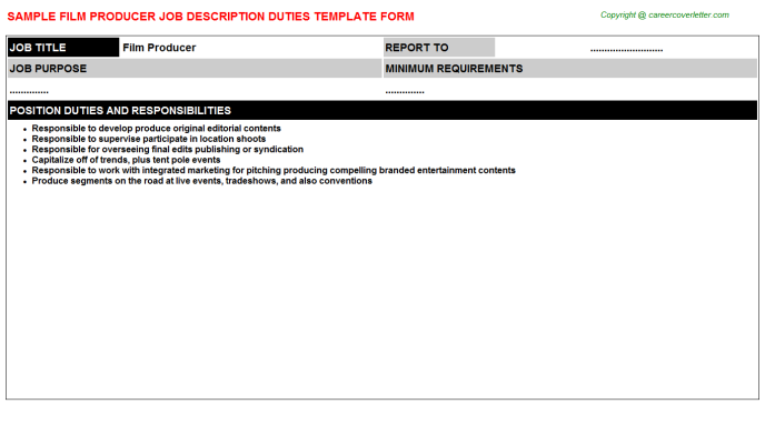 Film Producer Job Description Template
