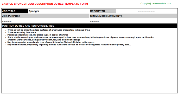 Sponger Job Description Template
