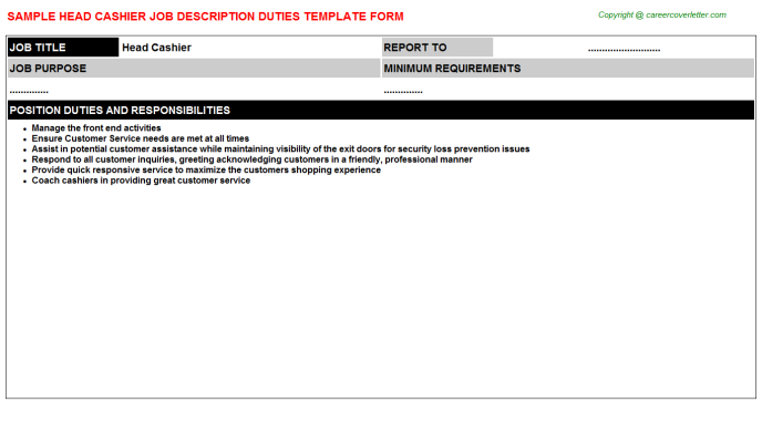 Head Cashier Job Description Template