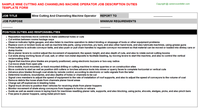 Mine Cutting And Channeling Machine Operator Job Description Template
