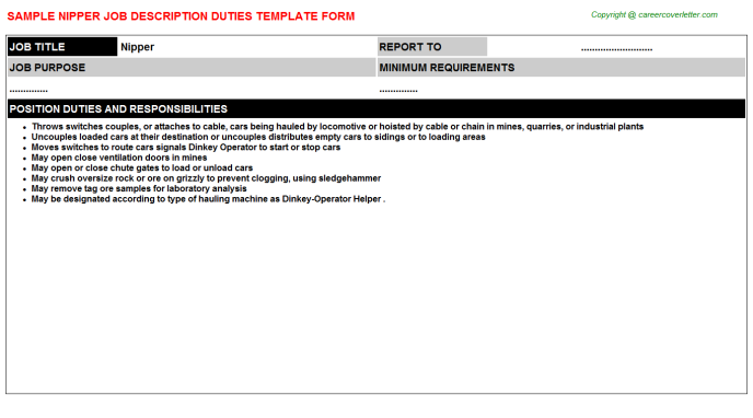 Nipper Job Description Template