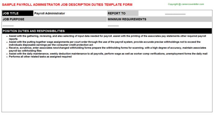 payroll administrator job description template