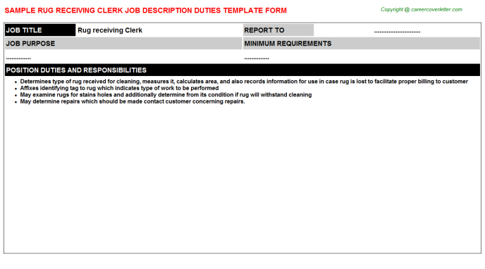 rug receiving clerk job description template