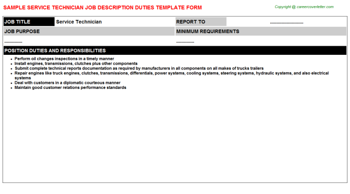 Service Technician Job Description Template