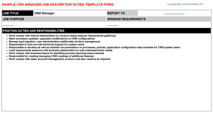 Crm Manager Job Description Template