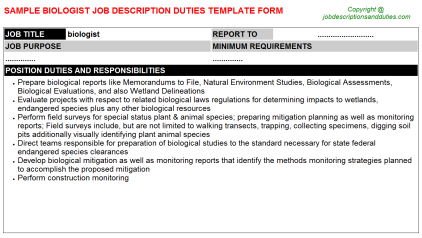 Biologist Job Description Duties Template