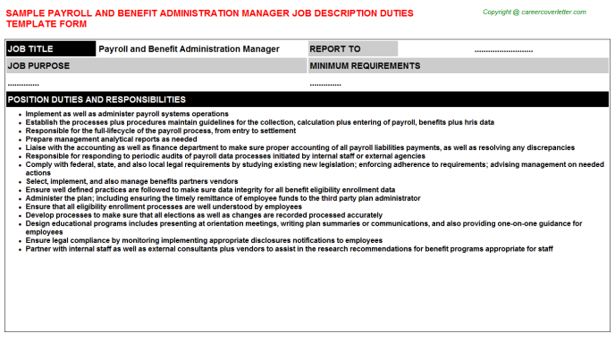 payroll and benefit administration manager job description template