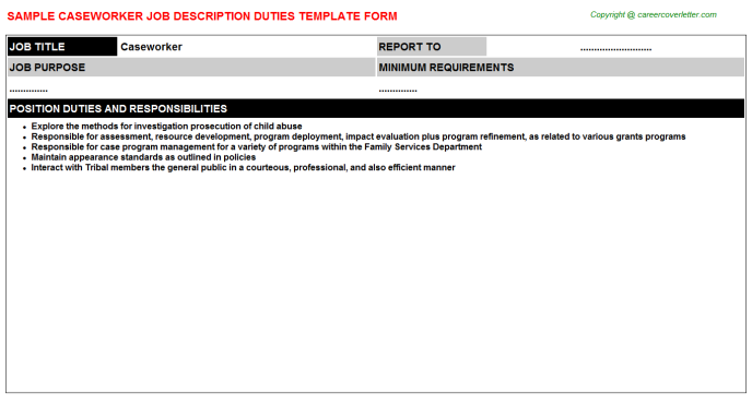 Caseworker Job Description Template
