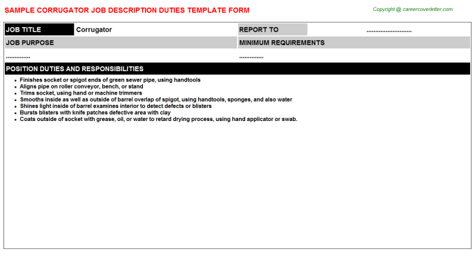 Corrugator Job Description Template
