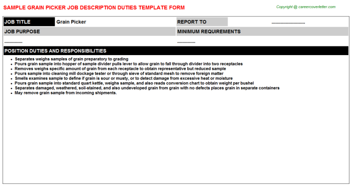 grain picker job description template