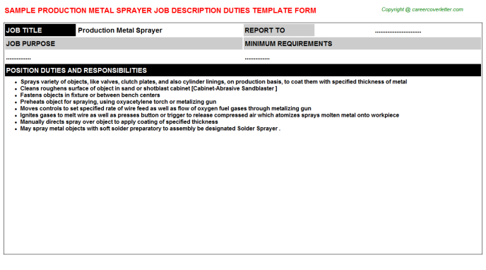 production metal sprayer job description template
