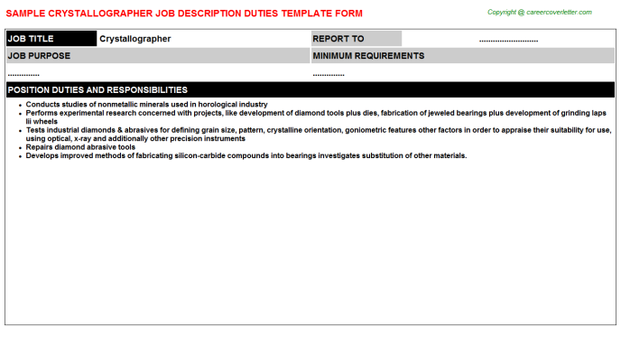 Crystallographer Job Description Template