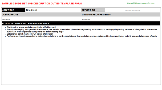 Geodesist Job Description Template