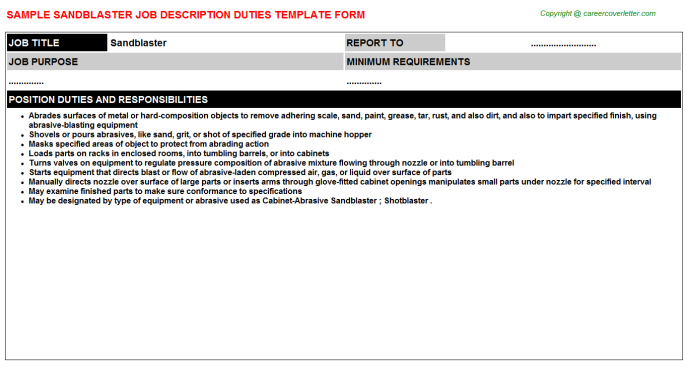 sandblaster job description template