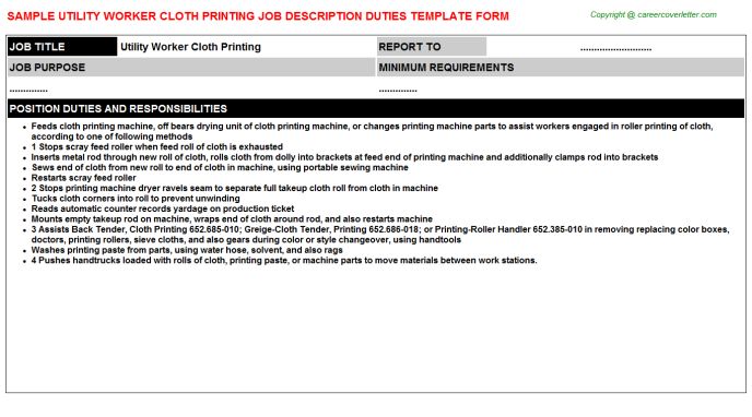 Utility Worker Cloth Printing Job Description Duties Template