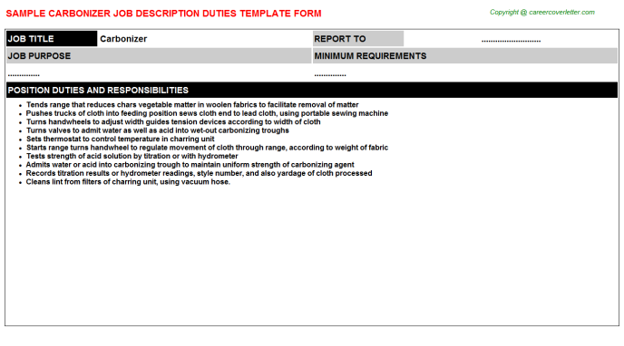 Carbonizer Job Description Template