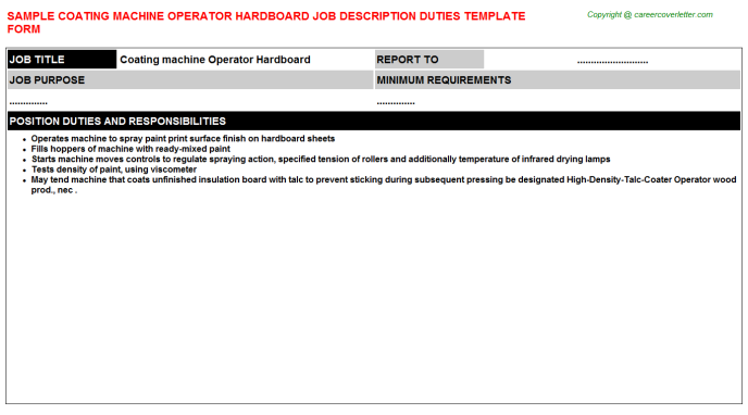 coating machine operator hardboard job description template