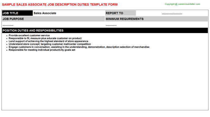 Sales Associate Job Description Template