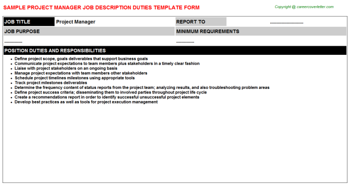 Project Manager Job Description Template