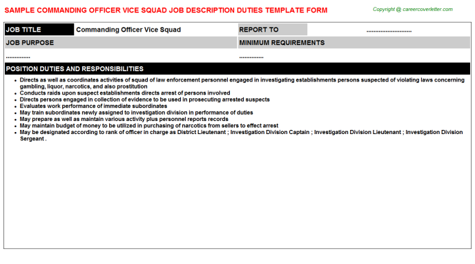 Commanding officer vice squad career job description (#5567)