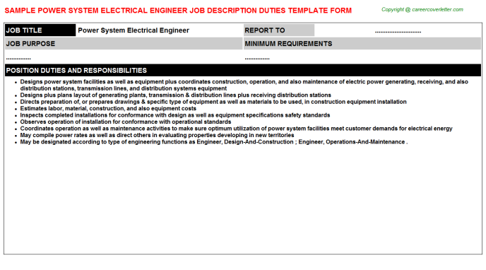 Power System Electrical Engineer Job Description Example Job