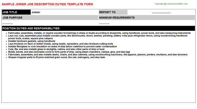 Joiner Job Description Template