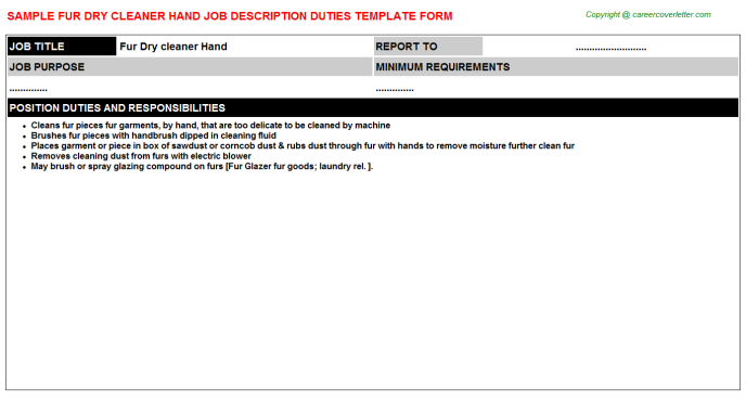 Fur Dry Cleaner Hand Job Description Template