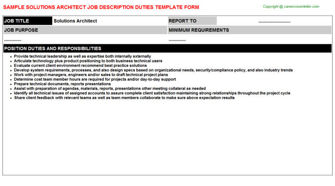 Solutions Architect Job Description Template