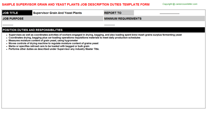 supervisor grain and yeast plants job description template