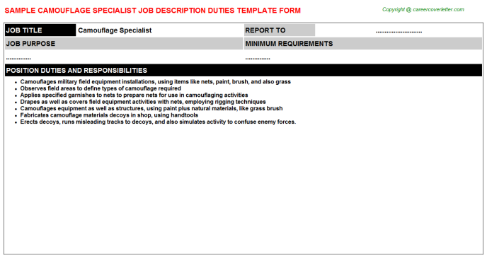 camouflage specialist job description template