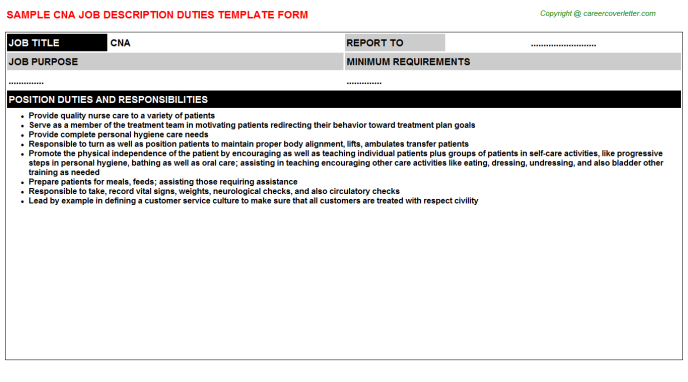 CNA Job Description Template
