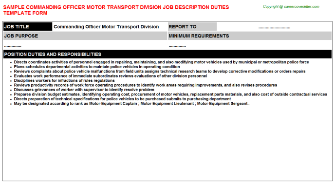 Commanding officer motor transport division career job description (#5571)