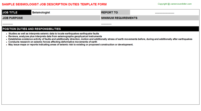 Seismologist Job Description Template