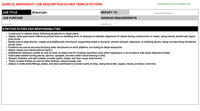 Shipwright Job Description Template