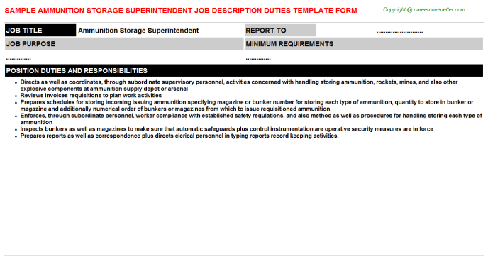 Ammunition Storage Superintendent Job Description Template