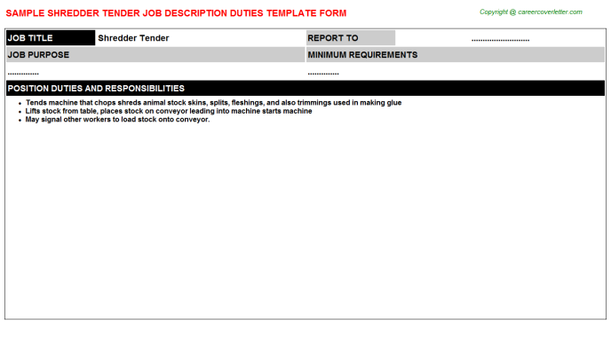 shredder tender job description template