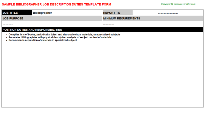 Bibliographer Job Description Template