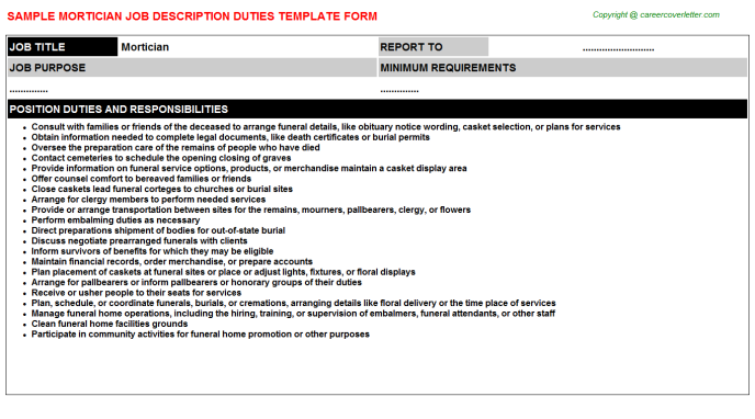 Mortician Job Description & Duties Template