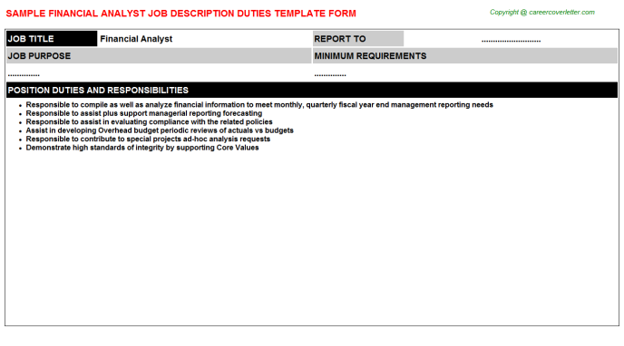 Financial Analyst Job Description Template