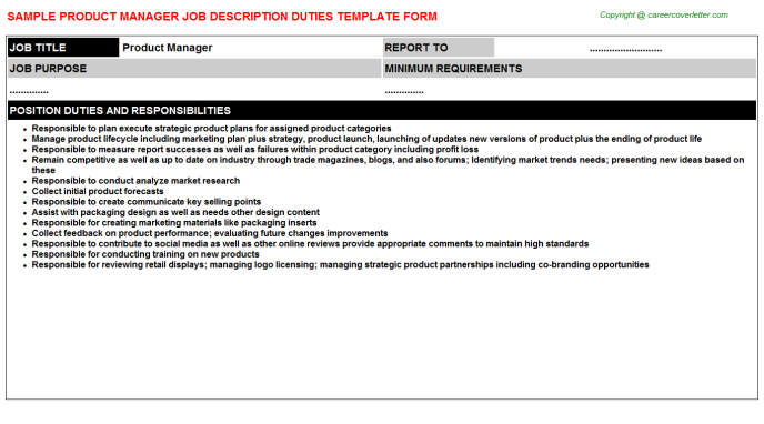 Product Manager Job Description Template