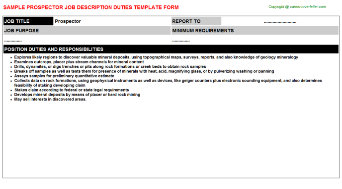 Prospector Job Description Template